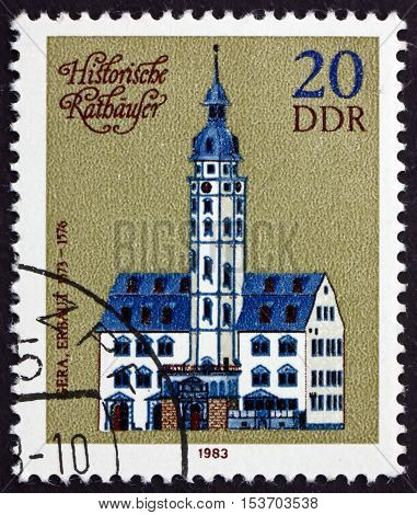 GERMANY - CIRCA 1974: a stamp printed in Germany shows Town Hall Gera 1576 circa 1974