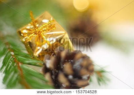 Christmas Gift On Snow Macro