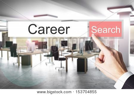 websearch career blue search button modern office 3D Illustration