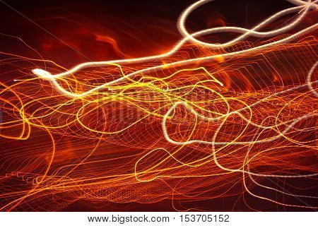 Abstract moving lights. Neon blurry moving, Caused by many bulb. Slow Shutter Speed Effect.