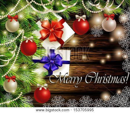 Christmas New Year design dark wooden background with christmas tree and silver and red balls and snowflakes and gift boxes