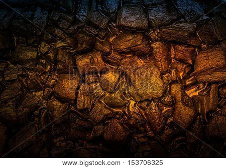 Abstract background and texture from dark red light effect on wet stone