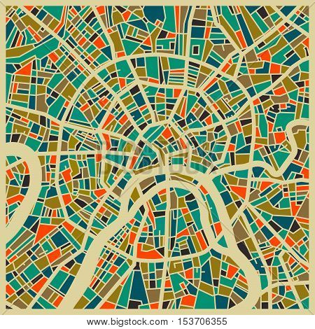 Moscow vector map. Colorful vintage design base for travel card advertising gift or poster.
