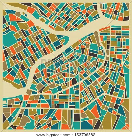 Saint Petersburg vector map. Colourful vintage design base for travel card advertising gift or poster.