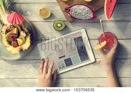 Woman Online Shopping Website Concept