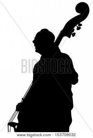 Man whit bass on a white background