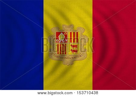 Andorran national official flag. Patriotic symbol banner element background. Correct colors. Flag of Andorra wavy with real detailed fabric texture accurate size illustration