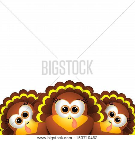 Card for Thanksgiving Day. Thanksgiving turkey on white background. Thanksgiving postcard.