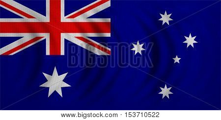 Australian national official flag. Patriotic symbol banner element background. Correct colors. Flag of Australia wavy with real detailed fabric texture accurate size illustration