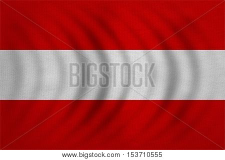 Austrian national official flag. Patriotic symbol banner element background. Correct colors. Flag of Austria wavy with real detailed fabric texture accurate size illustration