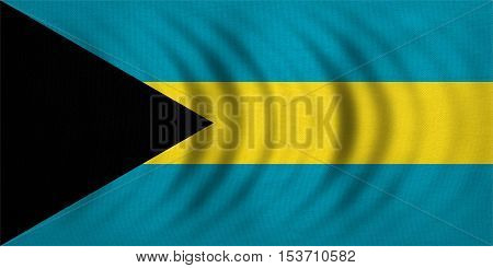 Bahamian national official flag. Patriotic symbol banner element background. Correct colors. Flag of Bahamas wavy with real detailed fabric texture accurate size illustration