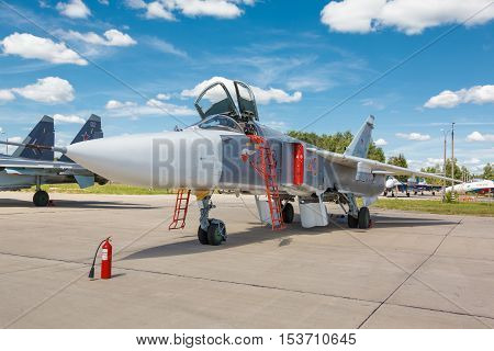 KUBINKA, RUSSIA - JUN 18, 2015: The Sukhoi Su-24 is a Russian twin-seat fighter-bomber at the International military-technical forum ARMY-2015 at the Kubinka air base