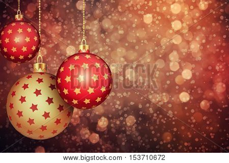 Set of red and gold Christmas balls hang on a holiday background with copy space.