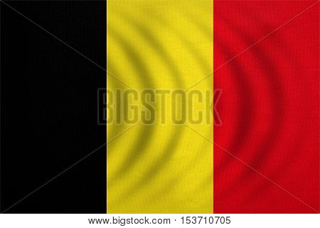 Belgian national official flag. Patriotic symbol banner element background. Correct colors. Flag of Belgium wavy with real detailed fabric texture accurate size illustration