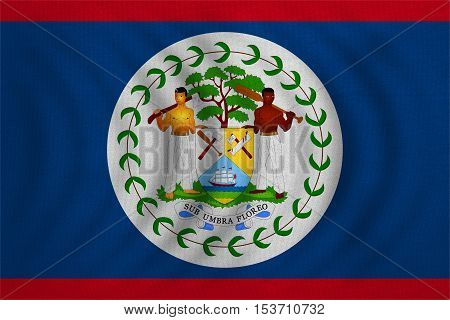 Belizean national official flag. Patriotic symbol banner element background. Correct colors. Flag of Belize wavy with real detailed fabric texture accurate size illustration