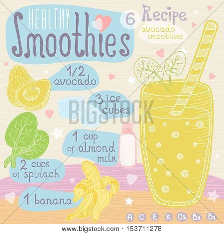 Healthy smoothie recipe set. With illustration of ingredients, glass, stars, hearts and vitamin. Hand drawn in cute doodle style. Avocado smoothie. Avocado, ice cubes, banana