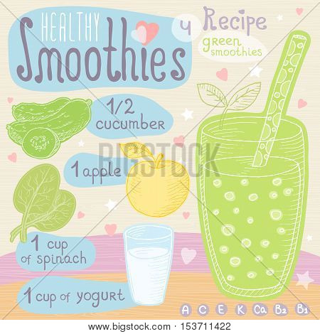 Healthy smoothie recipe set. With illustration of ingredients, glass, stars, hearts and vitamin. Hand drawn in cute doodle style. Green smoothie.