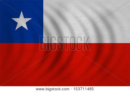 Chilean national official flag. Patriotic symbol banner element background. Correct colors. Flag of Chile wavy with real detailed fabric texture accurate size illustration