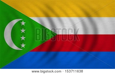 Comorian national official flag. African patriotic symbol banner element background. Correct colors. Flag of Comoros wavy with real detailed fabric texture accurate size illustration