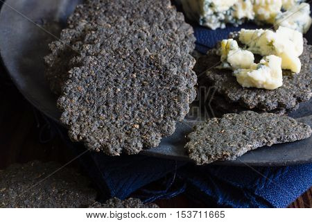 Charcoal biscuits a cracker made with activated charcoal to aid digestion