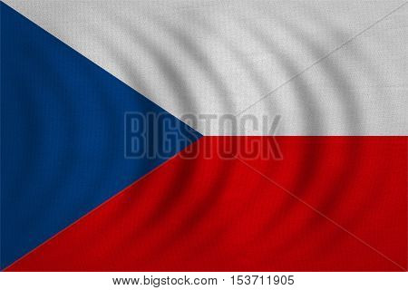Czech national official flag. Patriotic symbol banner element background. Correct colors. Flag of Czech Republic wavy with real detailed fabric texture accurate size illustration
