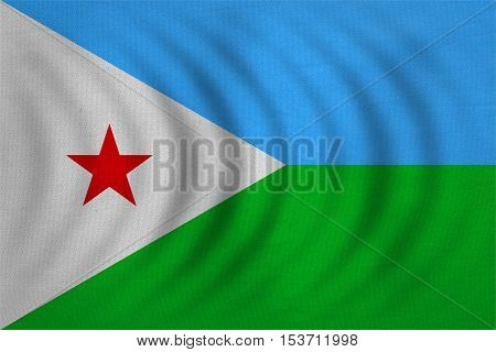Djiboutian national official flag. Patriotic symbol banner element background. Correct colors. Flag of Djibouti wavy with real detailed fabric texture accurate size illustration