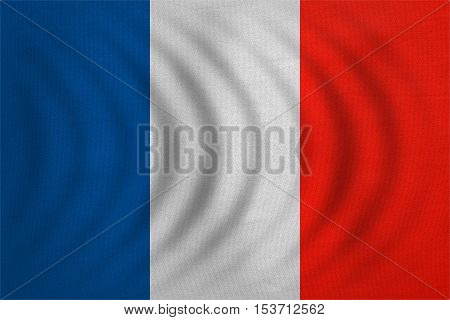 French national official flag. Patriotic symbol banner element background. Correct colors. Flag of France wavy with real detailed fabric texture accurate size illustration