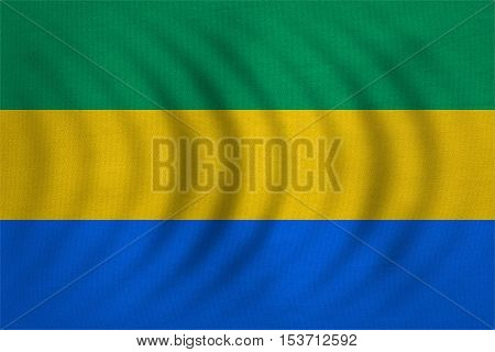 Gabonese national official flag. African patriotic symbol banner element background. Correct colors. Flag of Gabon wavy with real detailed fabric texture accurate size illustration