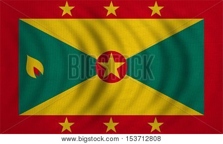 Grenadian national official flag. Patriotic symbol banner element background. Correct colors. Flag of Grenada wavy with real detailed fabric texture accurate size illustration