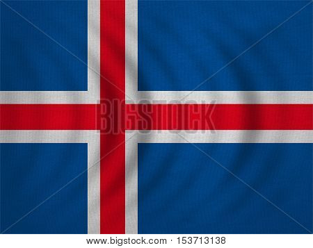 Icelandic national official flag. Patriotic symbol banner element background. Correct colors. Flag of Iceland wavy with real detailed fabric texture accurate size illustration