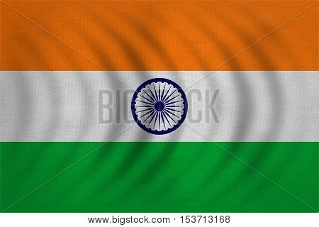 Indian national official flag. Patriotic symbol banner element background. Correct colors. Flag of India wavy with real detailed fabric texture accurate size illustration