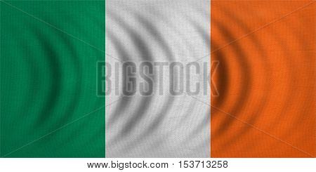 Irish national official flag. Patriotic symbol banner element background. Correct colors. Flag of Ireland wavy with real detailed fabric texture accurate size illustration