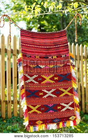 Apron folk costume. Hand woven with threads of natural materials.
