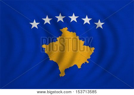 Kosovan national official flag. Patriotic symbol banner element background. Correct colors. Flag of Kosovo wavy with real detailed fabric texture accurate size illustration