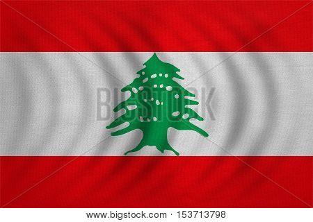 Lebanese national official flag. Patriotic symbol banner element background. Correct colors. Flag of Lebanon wavy with real detailed fabric texture accurate size illustration