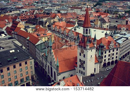 View from above on the old city of Munich Germany - 20.06.2015.