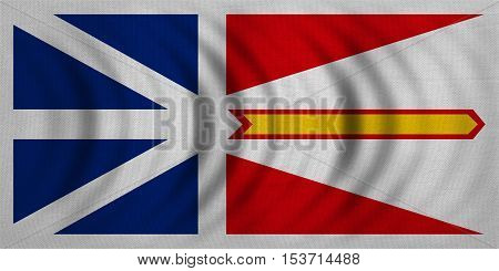 Canadian provincial NL patriotic element official symbol. Canada banner and background. Flag of the Canadian province of Newfoundland and Labrador wavy fabric texture accurate size color illustration
