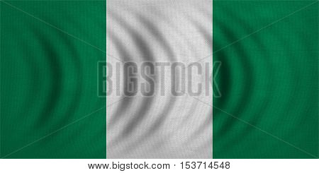 Nigerian national official flag. African patriotic symbol banner element background. Correct colors. Flag of Nigeria wavy with real detailed fabric texture accurate size illustration