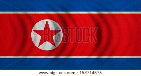 North Korean national official flag. Patriotic DPRK symbol banner element background. Correct colors. Flag of North Korea wavy with real detailed fabric texture accurate size illustration