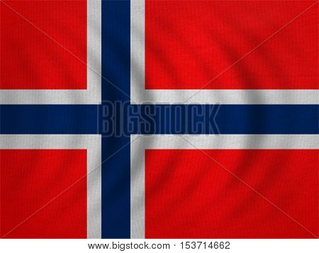 Norwegian national official flag. Patriotic symbol banner element background. Correct colors. Flag of Norway wavy with real detailed fabric texture accurate size illustration