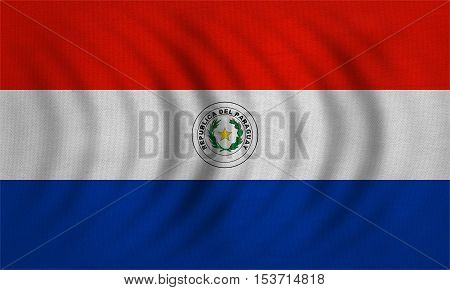 Paraguayan national official flag. Patriotic symbol banner element background. Correct colors. Flag of Paraguay wavy with real detailed fabric texture accurate size illustration
