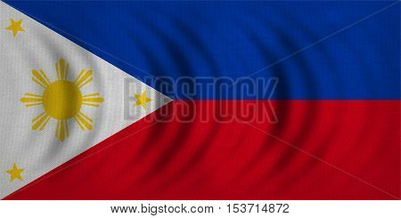 Philippine national official flag. Patriotic symbol banner element background. Correct colors. Flag of the Philippines wavy with real detailed fabric texture accurate size illustration