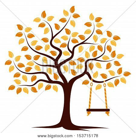 vector autumn tree with swing isolated on white background