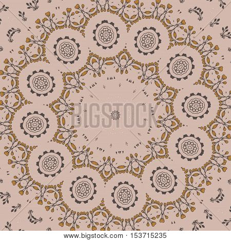 Floral pattern with leaves. Illustration doodle floral texture in circle shape