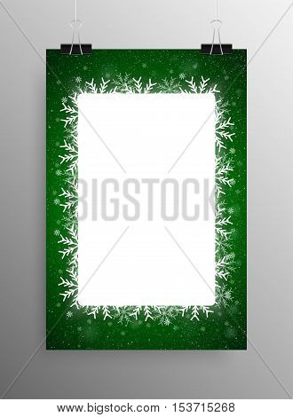Vertical Poster Banner A4 Vector Paper Clips. Vector Rectangle Frame Snowflake. Falling Snow. White Winter Frame Green Background. Winter Snowfall. Winter Holidays New Year and Merry Christmas.