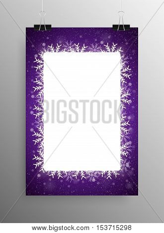 Vertical Poster Banner A4 Vector Paper Clips. Vector Rectangle Frame Snowflake. Falling Snow. White Winter Frame Violet Background. Winter Snowfall. Winter Holidays New Year and Merry Christmas.