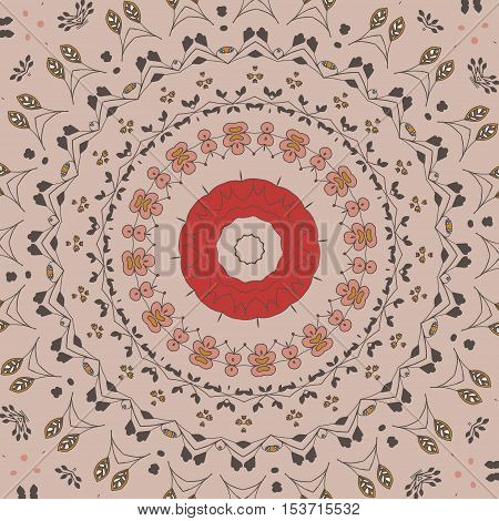 Floral pattern with flowers. Illustration blooming doodle floral texture in circle shape