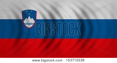 Slovenian national official flag. Patriotic symbol banner element background. Correct colors. Flag of Slovenia wavy with real detailed fabric texture accurate size illustration