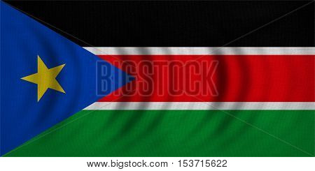 South Sudanese national official flag. African patriotic symbol banner element background. Correct colors. Flag of South Sudan wavy with real detailed fabric texture accurate size illustration