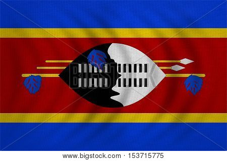Swazi national official flag. Patriotic symbol banner element background. Correct colors. Flag of Swaziland wavy with real detailed fabric texture accurate size illustration